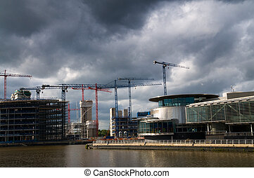 under construction salford quays - Media city - office of...