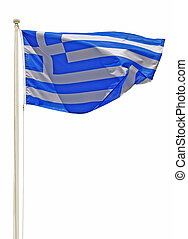 Greece flag - vibrant greek flag on a white pole isolated on...