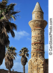 Travel Photos of Israel - Caesarea - Muslim Mosque tower at...