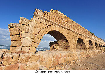 Travel Photos of Israel - Caesarea - Ancient Roman aqueduct...