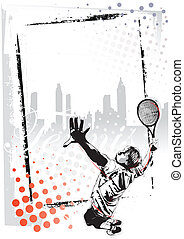 tennis poster  - illustration of the tennis player