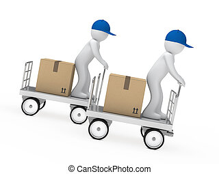 two figures drive a trolley - delivery figure drive a...