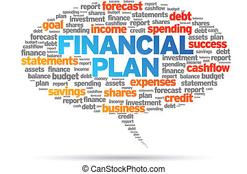 Financial Plan word speech bubble illustration on white...