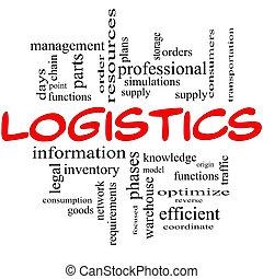 logística, conceito, vermelho, pretas
