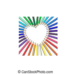 colored pencils heart - Colored pencils in a heart shape