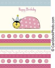 welcome baby card with ladybug
