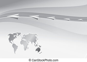 Paper airplanes fly over the world map