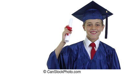 Young Graduate -  young graduate waving his scroll