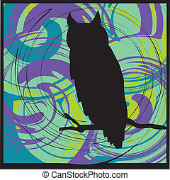 Owl alerted to movement. Vector illustration
