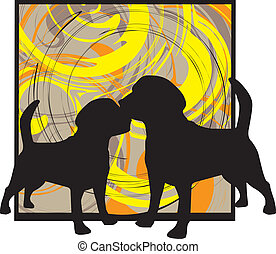 2 Dogs, vector illustration