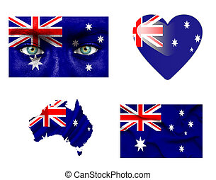 Set of various Australia flags