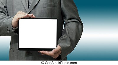 businessman hand holds and touch tablet computer isolated on...