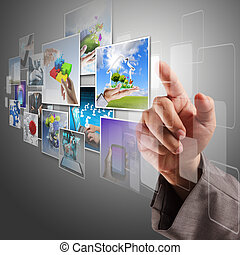 hand reaching virtual images streaming - business hand...