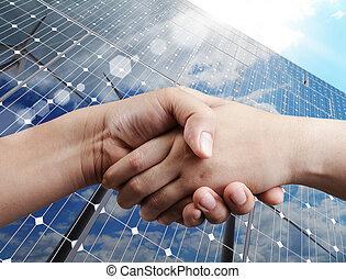 handshake and sunlight background