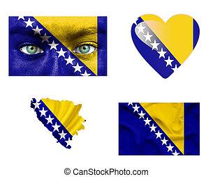 Set of various Bosnia and Herzegovina flags