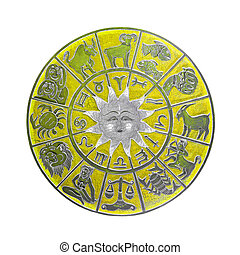 Yellow horoscope wheel - Yellow zodiac wheel with clipping...