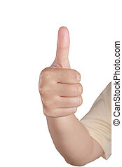 Woman hands thumbs up. Isolated on white