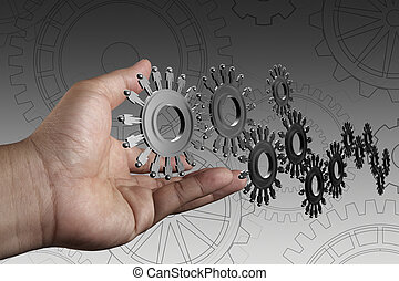 hand shows people cogs as concept - businessman hand shows...