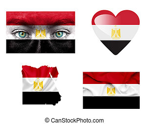 Set of various Egypt flags