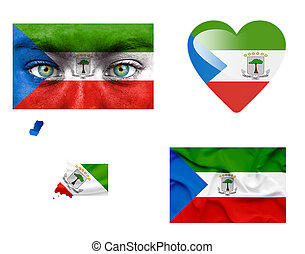 Set of various Equatorial Guinea flags