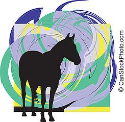 chevaux,  silhouettes, résumé, vecteur