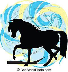 résumé, chevaux, silhouettes, vecteur
