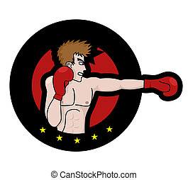 Boxing emblem - Creative illustration of boxing emblem