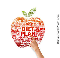 Diet Plan - Hand pointing at a Diet Plan Word illustration...