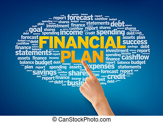 Financial Plan - Hand pointing at a Financial Plan Word...