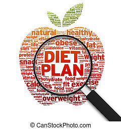 Diet Plan - Magnified illustration with the word Diet Plan...
