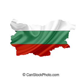 Map of Bulgaria with waving flag isolated on white
