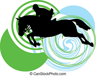 Abstract horses silhouettes Vector illustration