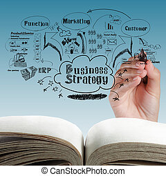 abertos, em branco, livro, negócio, processo