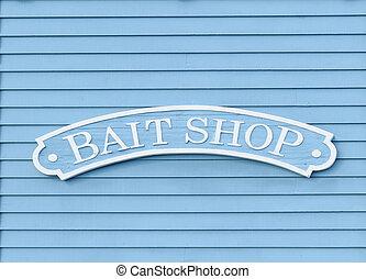 Bait Shop Sign - Wood Bait Shop sign on a clapboard building...