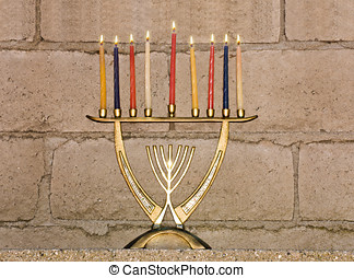 Chanukah lights for all eight nights - Shiny, brass colored...