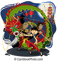 Chinese New Year Dragon Dance - An Illustration Of Chinese...