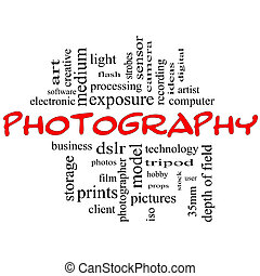 Photography word cloud concept black and red