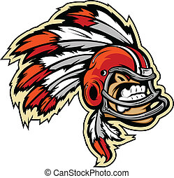 Graphic Vector lmage of an Indian Chief Football Mascot with Feathers on Football Helmet