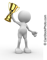 Trophy - 3d people - man, person and a big golden trophy....