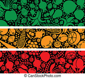 Fruits and vegetables pattern. Vector illustration