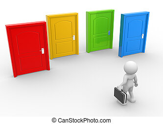 Businessman - 3d people - man, person and doors different...