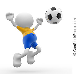 Football player - 3d people - men, person and a ball....