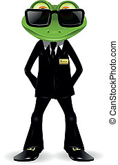 frog security guard in a black suit