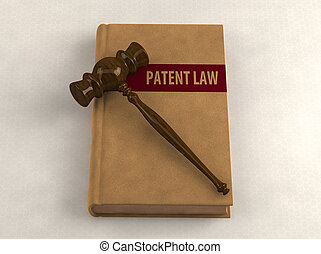Gavel on a patent law book Conceptual illustration