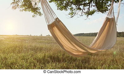 Hammock swinging on the wind