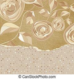 Retro frame with beidge rose on polka dot. EPS 8 - Retro...