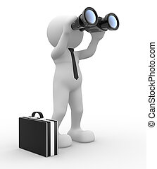 Businessman - 3d people - man, person with a binocular...