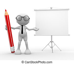 Flipchart - 3d people -man, person with a pencil and a blank...