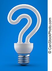 Bulb in the form of a question mark on a dark blue...