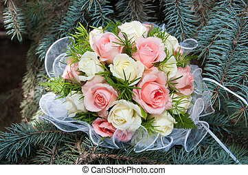 Bridal bouquet with white and pink rose on wedding...